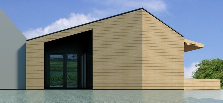 Moderne uitbreiding woning in hout