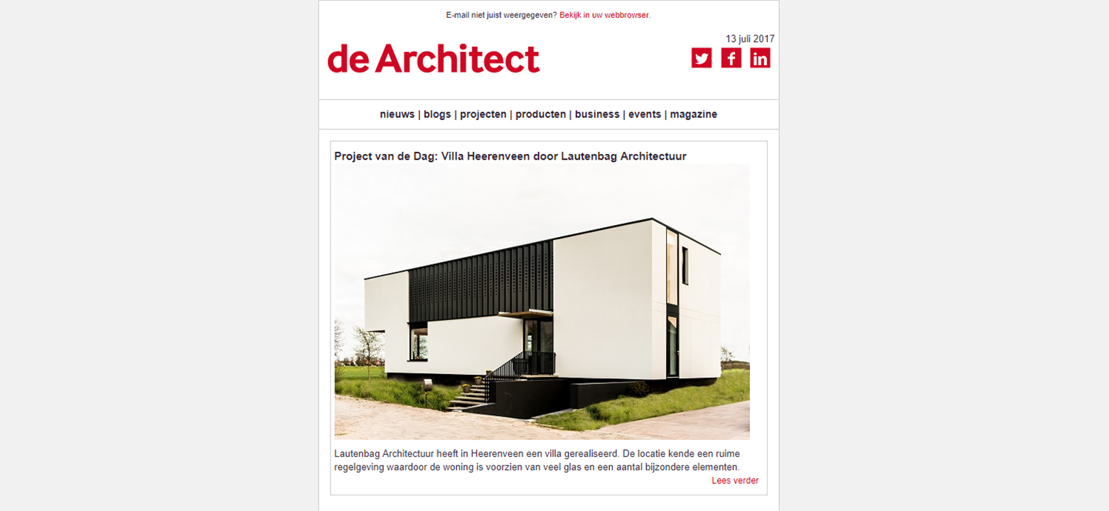 Project van de dag in de Architect: Villa Heerenveen