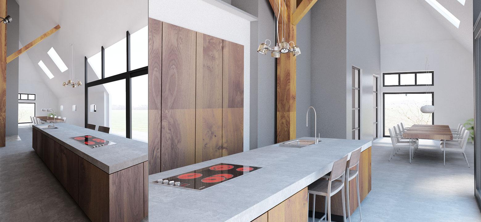 keuken woonboerderij, interieurontwerp woonboerderij Friesland